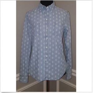 Lands' End Blue Chambray Floral Button Down Shirt